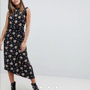 Never worn ASOS tea length dark floral dress